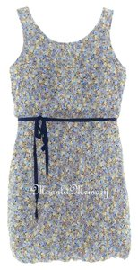 Maeve short dress Blue, Yellow, Tan Anthropologie Blouson Sleeveless Floral Bubble Hem on Tradesy