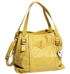 Juicy Couture Leather Cross Body Yellow Summer Spring Casual Satchel in Cadmium Yellow