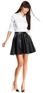 Necessary Objects Skater Pleather Mini Skirt Black