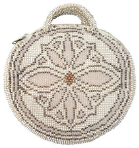 CZECHOLOVAKIAN Vintage Handmade Glass Beaded Depression Era IVORY Clutch