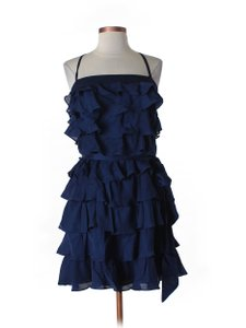 BHLDN Blue Satin Faced Chiffon Silk; Acetate Lining. Tiered Twirler Feminine Bridesmaid/Mob Dress Size 10 (M)
