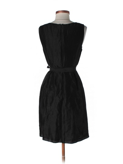 BHLDN Black Silk Linen; Acetate Lining. Starburst Pleated Shift Modern Bridesmaid/Mob Dress Size 0 (XS)