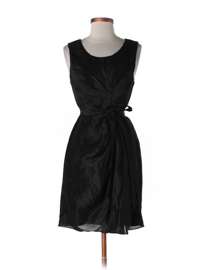 BHLDN Black Silk Linen; Acetate Lining. Starburst Pleated Shift Modern Bridesmaid/Mob Dress Size 12 (L)