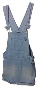 Modern Lux Overalls Cute Smileyface Wink Adorable Paleblue Cuffed Shorts Blue denim