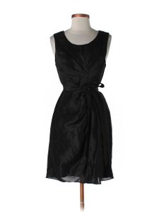 BHLDN Black Silk Linen; Acetate Lining. Starburst Pleated Shift Feminine Bridesmaid/Mob Dress Size 14 (L)