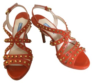Prada Studded Saffiano Leather orange Sandals