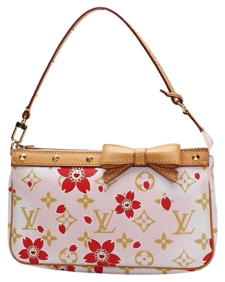828c8704cdbc Louis Vuitton Limited Edition Cherry Blossom Murakami White Pink and Red  Monogram Lv Canvas Shoulder Bag