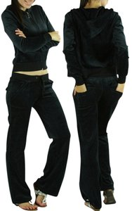 Zenana Outfitter NEW Black Velour Sweat Set Hoodie Lounge Track Pant Suit- Small- S