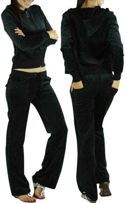 Item - Black New Velour Sweat Set Hoodie Lounge Track Pant Suit- Small- S Activewear Sportswear Size 4 (S, 27)