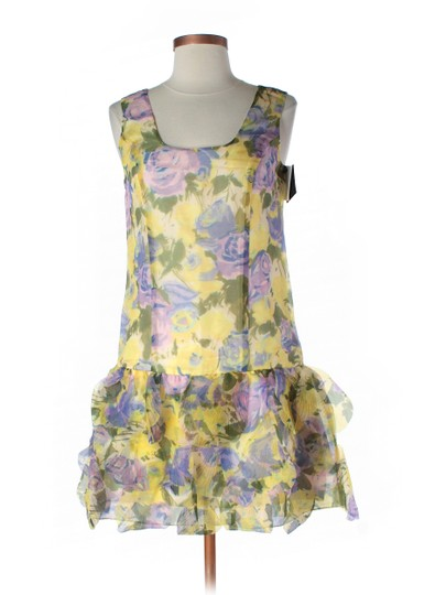 BHLDN Floral Silk Organza; Silk Lining Castle Hill Shift Feminine Bridesmaid/Mob Dress Size 12 (L)