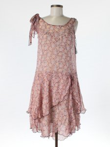 BHLDN Floral Silk Spliced Chiffon Vintage Bridesmaid/Mob Dress Size 0 (XS)