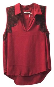 Silence + Noise Top Maroon (red wine) with black lace