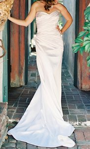 Augusta Jones White Charmuse Satin Perla Silk Italian Sexy Strapless Feminine Wedding Dress Size 8 (M)