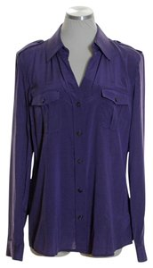 MICHAEL Michael Kors Stretch Silk Pocket Long Sleeve Epaulette Button Down Shirt Purple