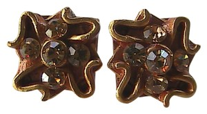 Vintage Gold Toned Clip Earrings 24k Trimmed