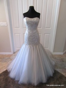 Moonlight Bridal Silver Grey Satin Pb6385 Formal Wedding Dress Size 12 (L)