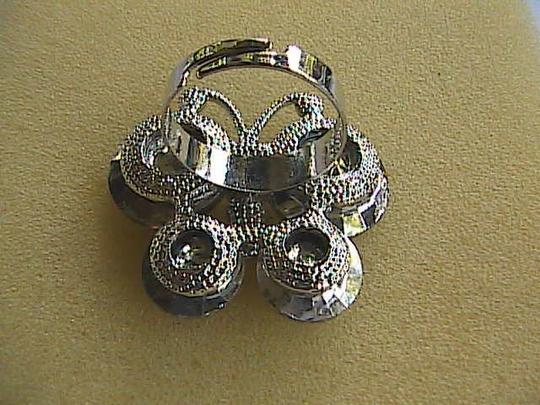 Vintage Adjustable Smokey Grey Ravioli Fashion Ring