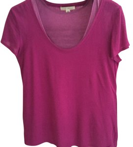 Banana Republic Scoop Neck Tee Cap Sleeve Layered Tee T Shirt Fuschia/Lavender