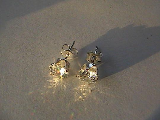 Unknown Sterling Silver Cubic Zirconia Stud Earrings Image 1