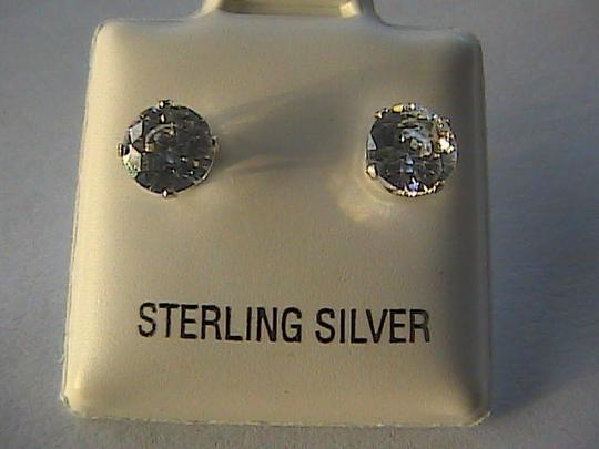 Unknown Sterling Silver Cubic Zirconia Stud Earrings Image 3