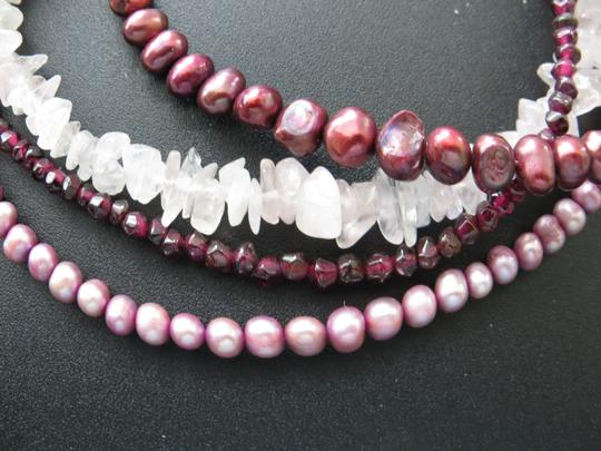 Other 14k Pearl, Garnet and Quartz Neclace