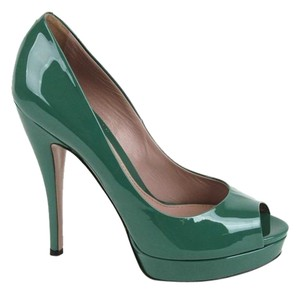 Gucci Patent Leather Open Toe Green Pumps