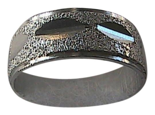 Unknown Sterling Silver Textured Diamond Cut Wedding Band Ring