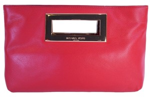 Michael Kors Berkeley Leather Purse Hand Scarlet Red Clutch