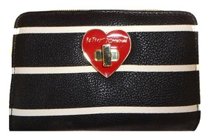 Betsey Johnson BLACK/BONE STRIPES BIFOLD WALLET