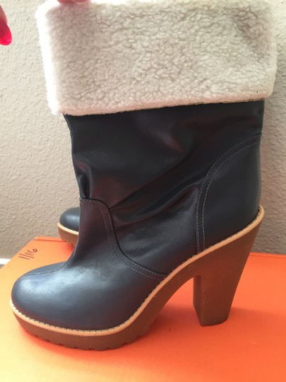 Marc Jacobs Vintage Patent Leather Grey/blue/cream Shearling Boots
