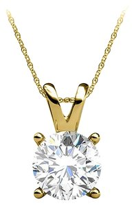 LoveBrightJewelry Brilliant Cut Natural Diamond Pendant 14K Yellow Gold