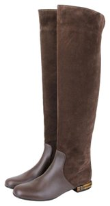 Gucci Leather And Suede Knee Brown2140 Boots
