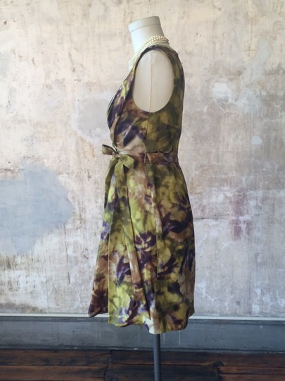 BHLDN Multicolor Silk Linen; Acetate Lining. Starburst Pleated Shift Vintage Bridesmaid/Mob Dress Size 2 (XS)
