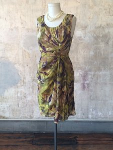 BHLDN Multicolor Silk Linen; Acetate Lining. Starburst Pleated Shift Vintage Bridesmaid/Mob Dress Size 14 (L)