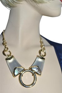 Alexis Bittar New ALEXIS BITTAR Silver White Lucite and Mother of Pearl Link Necklace