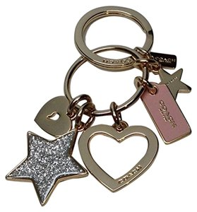 Coach STARS and HEART Key Ring Key Chain FOB 65166 Gold