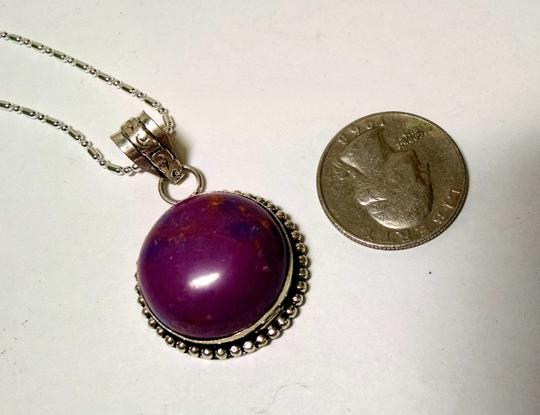 Other New Purple Jasper Gemstone Necklace Pendant 925 Silver 20 inch Chain J640
