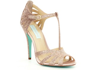 92b892d98dd Betsey Johnson Champagne Glitter Sparkly Gold Vintage Glam Formal Size US  7.5 Regular (M