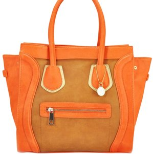 Big Buddah Tote in Tangerine, Brown
