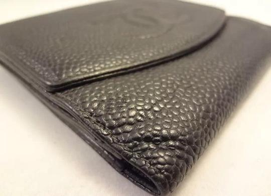 Chanel 100% AUTHENTIC CHANEL WALLET BLACK CAVIAR LEATHER COCO PURSE 2 SNAPS