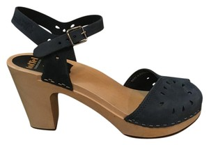 swedish hasbeens Peep-toe Sandal Nubuck Wood Dark Blue Mules