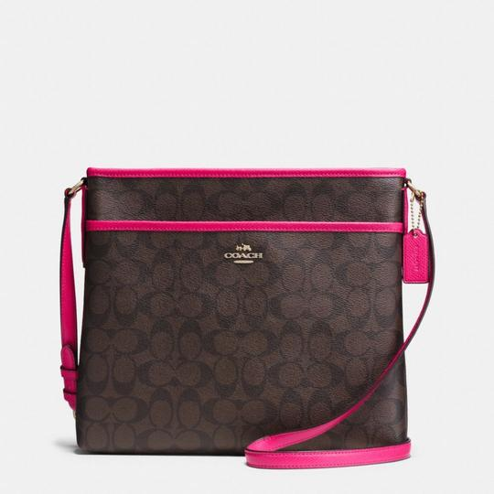 Coach Signature File Brown Black Ruby Pink Cross Body Bag