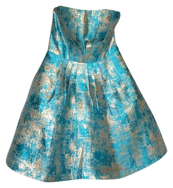 Item - Turquoise and Gold Knee Length Formal Dress Size 4 (S)