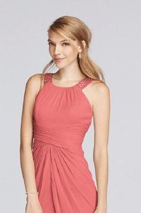 David's Bridal Coral Reef F17093 Long U Neck Mesh With Ruched Waist Dress