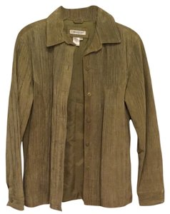 Coldwater Creek Leather Suede Shirt Pea Green Chartreuse Leather Jacket