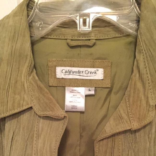 Coldwater Creek Suede Shirt Pea Green Chartreuse Leather Jacket