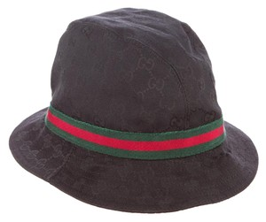 Gucci Black GG Guccissima monogram print Gucci Web logo bucket hat