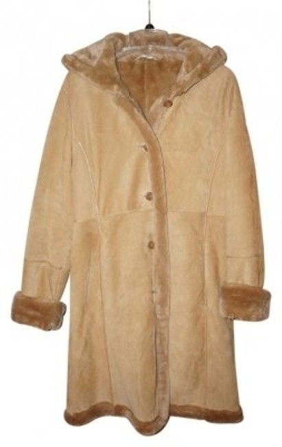 Item - Tan Suede Hooded Long Coat Size 8 (M)