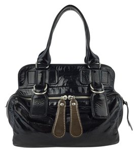 Chloé Pantent Leather Bay Satchel in Black