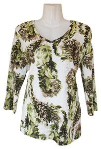 Karen Scott Quarter Sleeve V-neck Leaves New Top green, white, brown